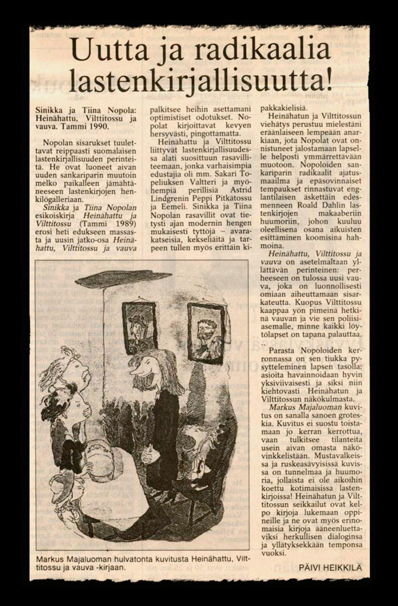 Uutta ja radikaalia lastenkirjallisuutta. Päivi Heikkilä. Keskisuomalainen. 28.2.1991.
