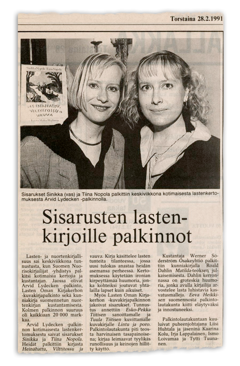 Sisarusten lastenkirjoille palkinnot. Päivi Heikkilä. 28.2.1991.
